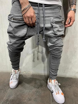 Ericdress Plain Lace-Up Baggy Pants Casual Mid Waist Men's Casual Pants