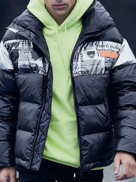 Ericdress Mid-Length Color Block Zipper European Men's Down Jacket