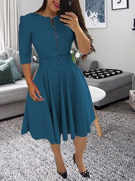 Ericdress Belt Three-Quarter Sleeve Round Neck Expansion Regular Dress