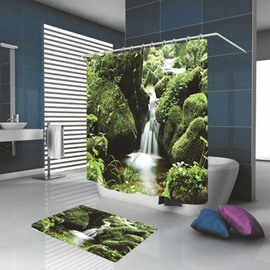 Ericdress Bathroom Botany Waterproof Shower Curtain Carpet Cover