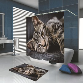 Ericdress Bathroom Cat Waterproof Shower Curtain Carpet Cover