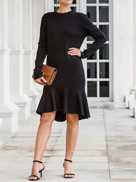 Ericdress Asymmetric Mid-Calf Long Sleeve Fall Pullover Dress