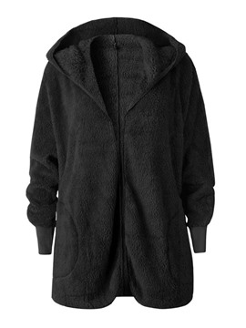 Ericdress Loose Mid-Length Hooded Women's Overcoat
