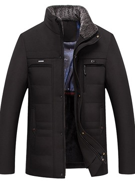 Ericdress Stand Collar Mid-Length Plain Zipper Korean Men's Down Jacket