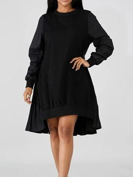 Ericdress Round Neck Long Sleeve Mid-Calf Plain Spring Dress
