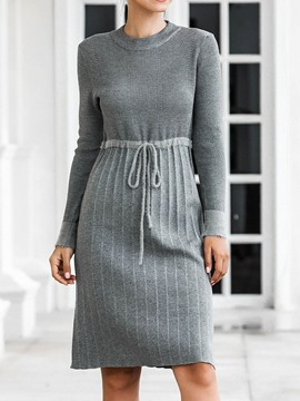 Ericdress Round Neck Long Sleeve Pleated Winter Mid Waist Dress