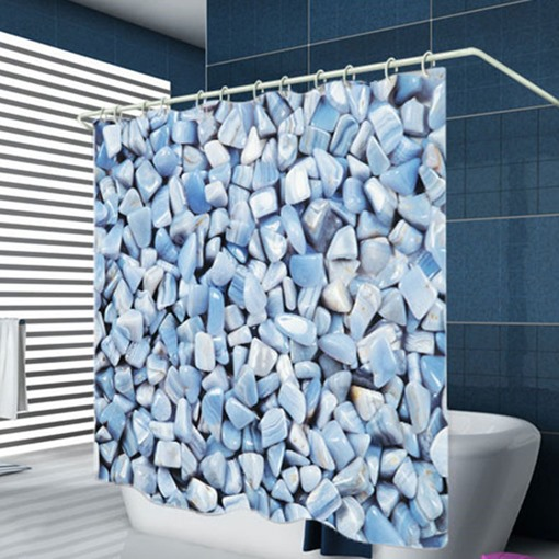 Ericdress Bathroom Stone Pattern Waterproof Shower Curtain Carpet Cover