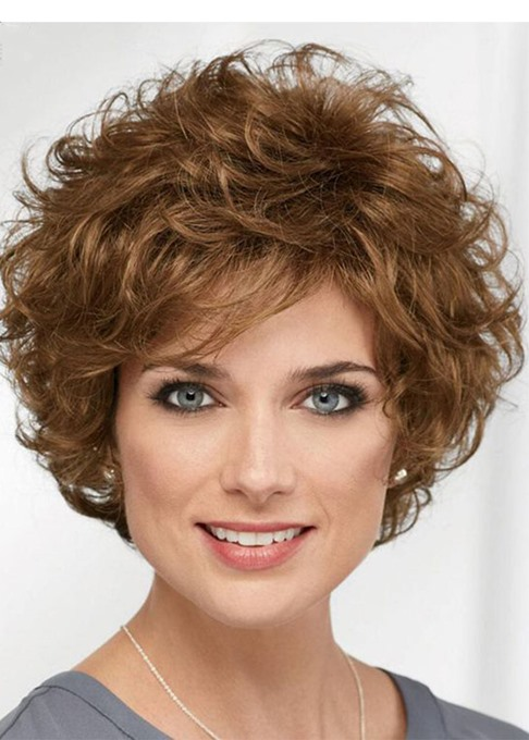 Short Layered Hairstyle Women's Natural Looking Brown Curly Synthetic Hair Capless Wigs 14Inch