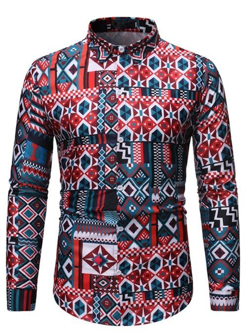 Ericdress Casual Print Color Block Single-Breasted Men's Shirt
