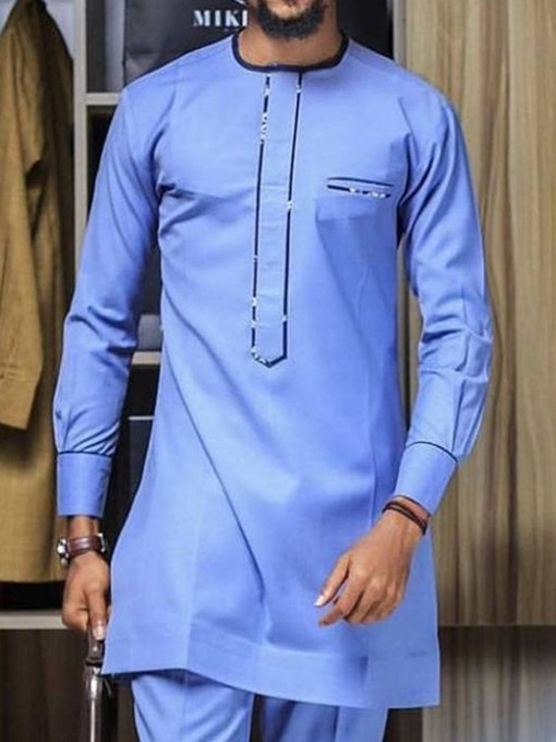 Ericdress African Fashion Dashiki Color Block Button Nine Points Sleeve Men's Shirt