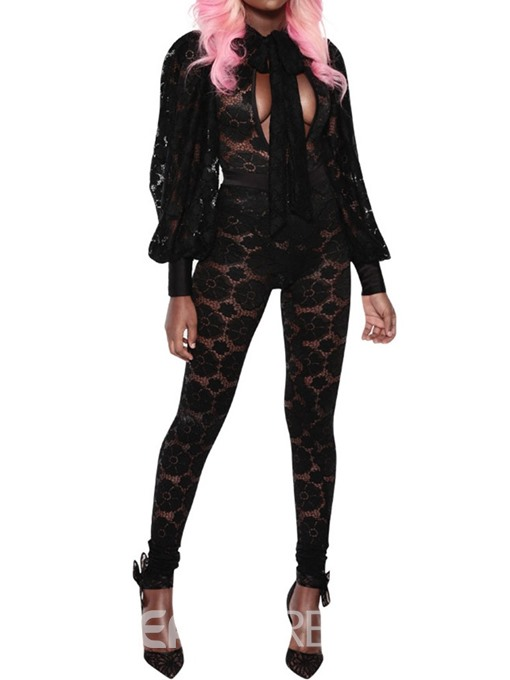 Ericdress Sexy Bowknot Full Length Skinny Mid Waist Jumpsuit