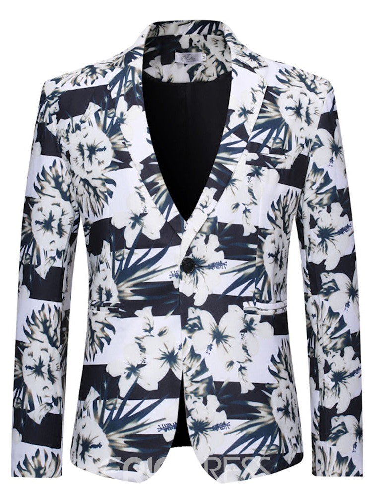 Ericdress Print Floral One Button Men's Leisure Blazers