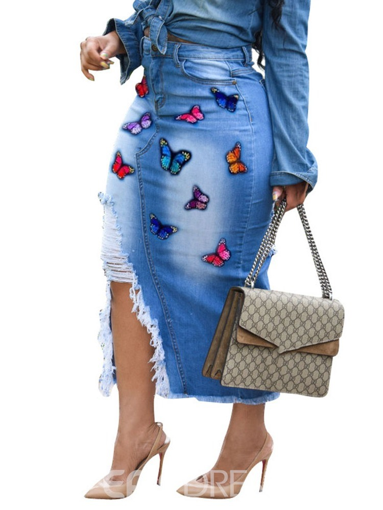 Ericdress Animal Knee-Length Embroidery Casual Skirt