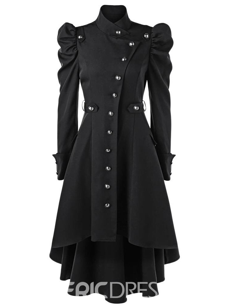 Ericdress Stand Collar Single-Breasted Long Fashion Women's Trench Coat