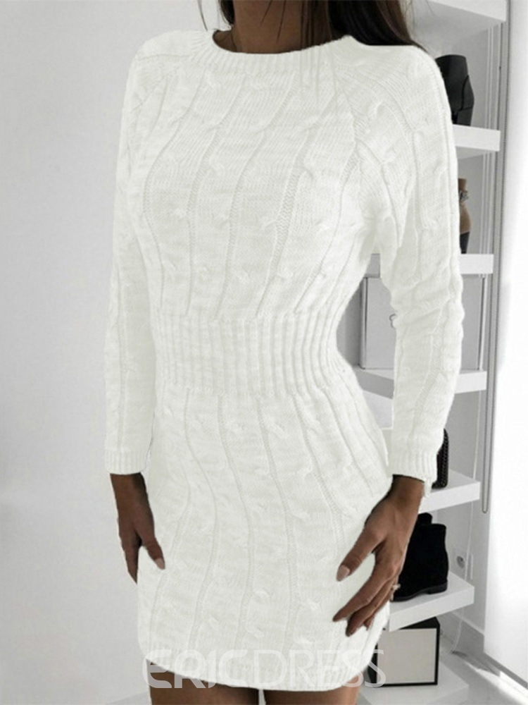 ericdress manches longues au-dessus des genoux robe d'hiver pull col rond