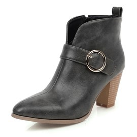 Ericdress Side Zipper Pointed Toe Plain Buckle Women's Ankle Boots