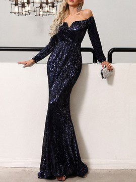 Ericdress Long Sleeves Sequins Mermaid Evening Dress 2019