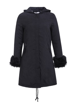 Ericdress Patchwork Loose Zipper Mid-Length Cotton Padded Women's Jacket