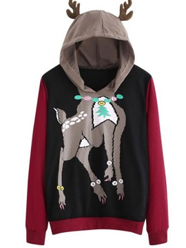 ericdress animal regular herbst mittellanger hoodie