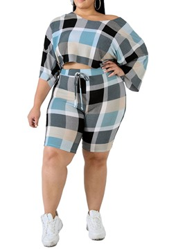 ericdress plus size casual color block cuello redondo conjuntos de dos piezas