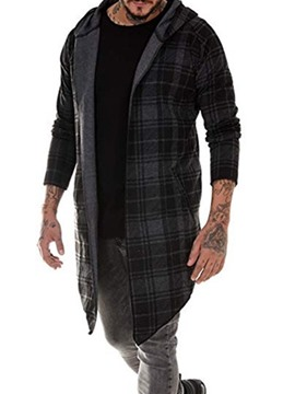 Ericdress Long Plaid Hooded Single Casual Men's Trench Coat