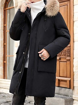 Ericdress Mid-Length Color Block Patchwork Casual Men's Down Jacket
