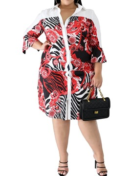 Ericdress Plus Size Print Three-Quarter Sleeve Lapel A-Line Regular Dress