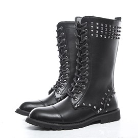 Ericdress Rivets Side Zipper Round Toe Men's Boots