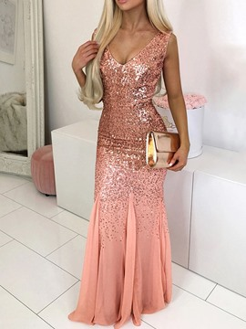 Ericdress Sequins Floor-Length Sleeveless Regular Pullover Dress