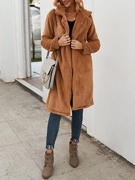 Ericdress Long Plain Lapel Loose Women's Faux Fur Overcoat