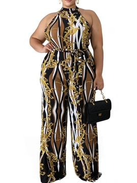 Ericdress Plus Size Full Length Color Block Slim High Waist Jumpsuit