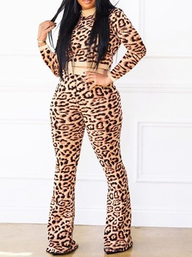 Ericdress Leopard T-Shirt Round Neck Two Piece Sets