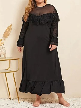 Ericdress Plus Size Long Sleeve Round Neck Mid-Calf A-Line Plus Size Dress
