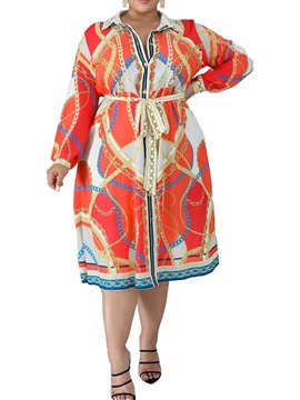 Ericdress Plus Size Long Sleeve Print Mid-Calf High Waist Geometric Dress