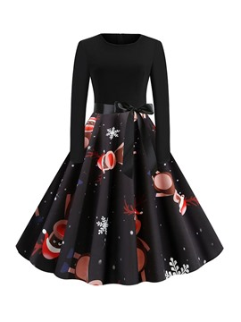 Ericdress Christmas Pattern Round Neck Print Long Sleeve A-Line Regular Dress