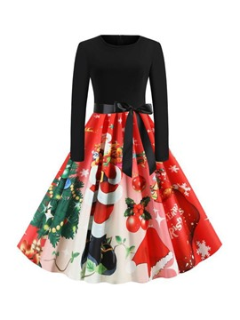 Ericdress Christmas Pattern Mid-Calf Long Sleeve Round Neck A-Line Pullover Dress