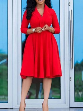 Ericdress Mid-Calf V-Neck Three-Quarter Sleeve Plain High Waist Dress