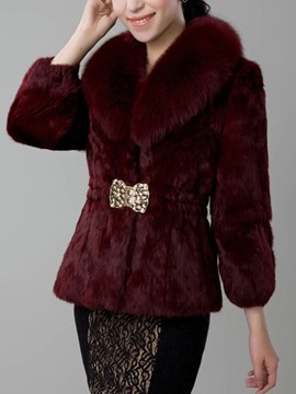 Ericdress Mid-Length Plain One Button Slim Women's Faux Fur Overcoat