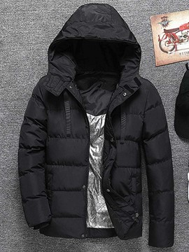 Ericdress Plain Hooded Mid-Length Zipper Casual Men's Down Jacket