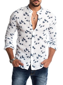 Ericdress Stand Collar Print Casual Men's Slim Shirt
