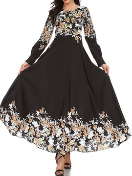 Ericdress Ankle-Length Round Neck Long Sleeve High Waist Vintage Dress