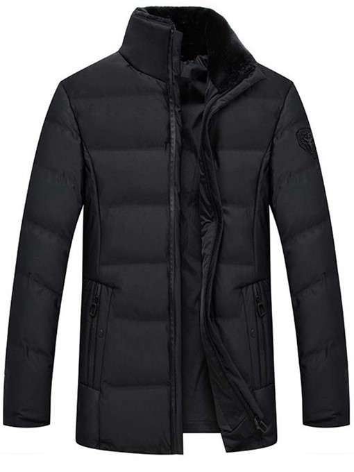 Ericdress Mid-Length Stand Collar Plain Casual Zipper Men's Down Jacket