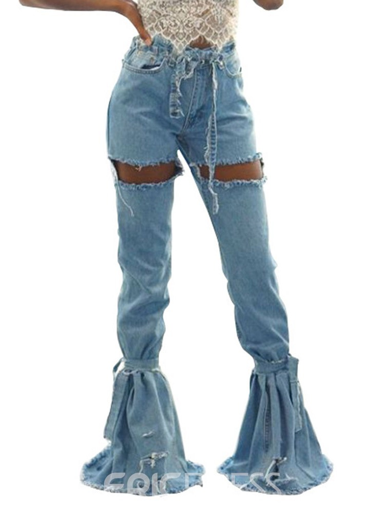ericdress hole jeans taille basse slim slim