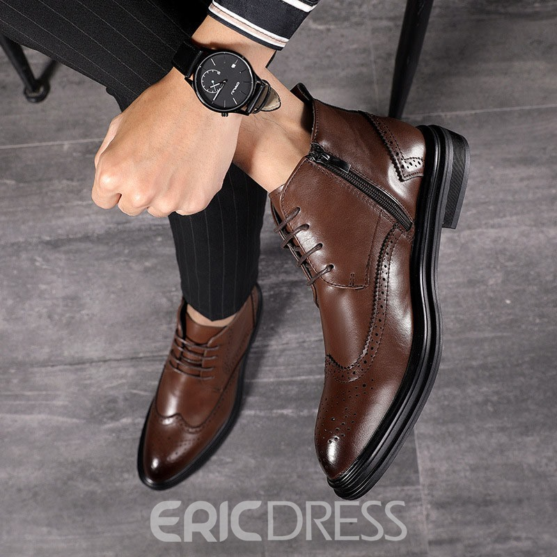 Ericdress High-Cut Upper Plain Pointed Toe Men's Boots