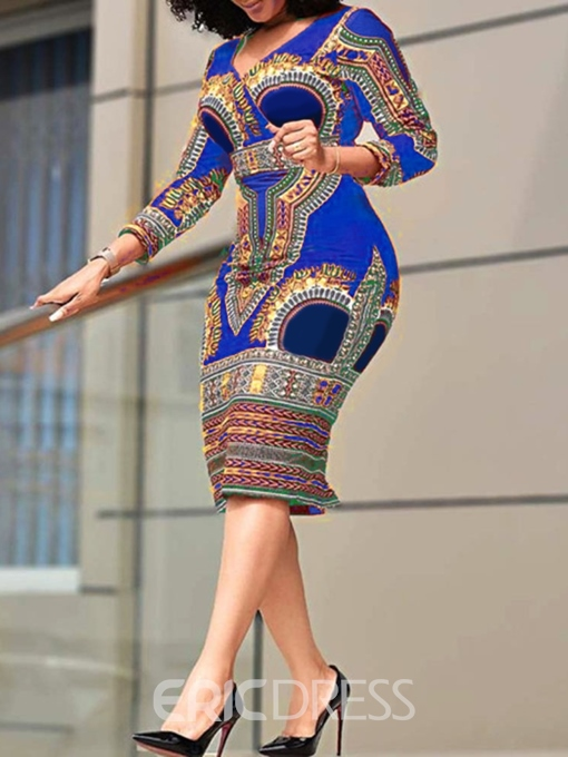 Ericdress V-Neck Print Three-Quarter Sleeve High Waist Geometric Dress