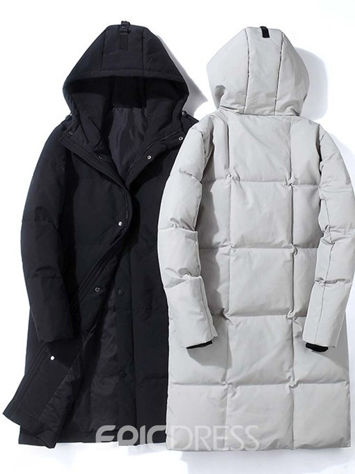 Ericdress Long Plain Single-Breasted Casual Men's Down Jacket