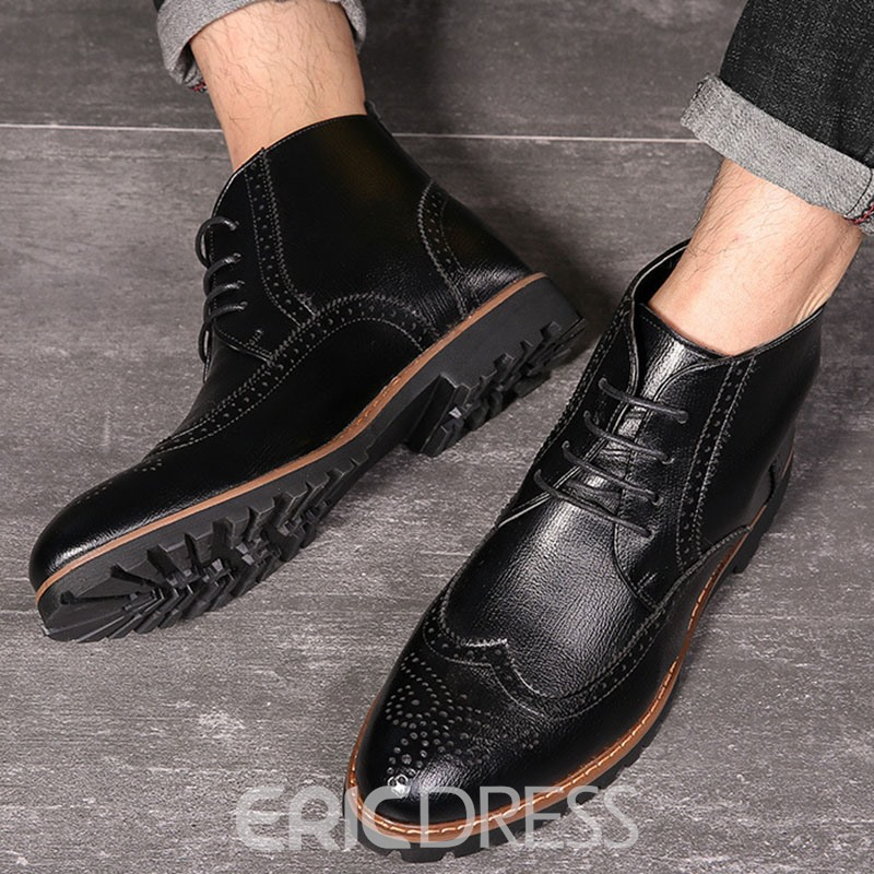 Ericdress Pointed Toe Lace-Up Front PU Men's Boots