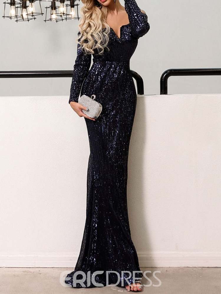 Ericdress Long Sleeves Sequins Mermaid Evening Dress