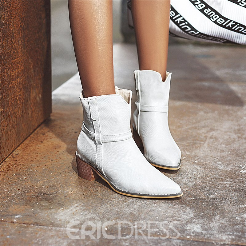 Ericdress Plain Slip-On Pointed Toe Women's Ankle Boots
