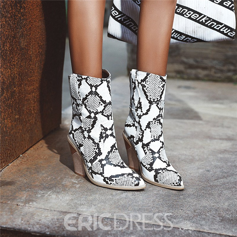 ericdress slip-on color block spitz zulaufende faden stiefel
